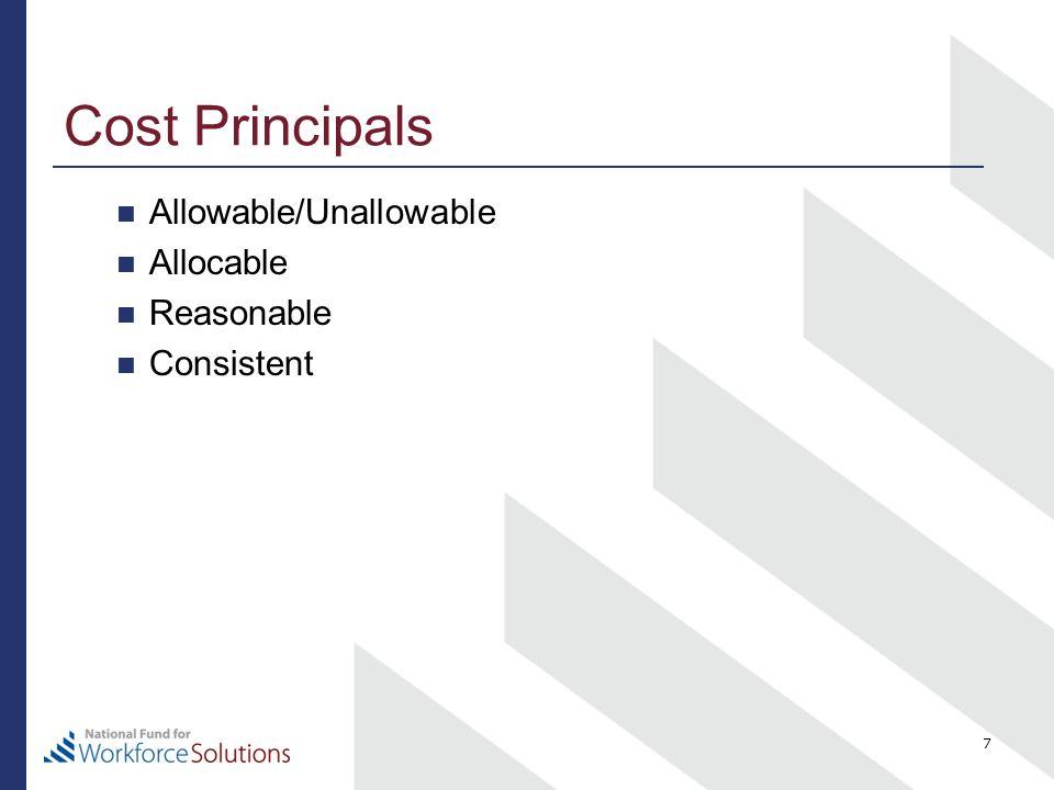 Cost Principals Allowable/Unallowable Allocable Reasonable Consistent 7