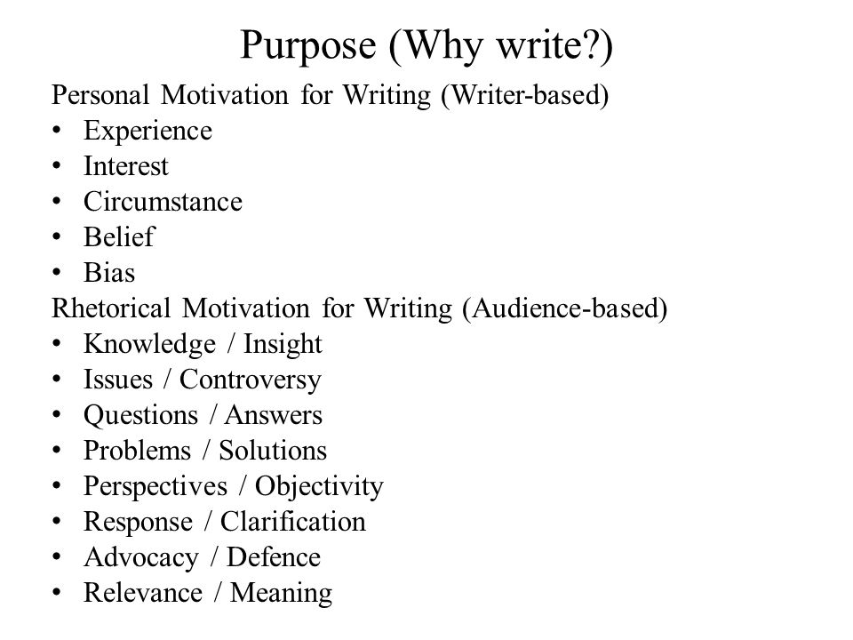 Purpose (Why write ) Personal Motivation for Writing (Writer-based) Experience Interest Circumstance Belief Bias Rhetorical Motivation for Writing (Audience-based) Knowledge / Insight Issues / Controversy Questions / Answers Problems / Solutions Perspectives / Objectivity Response / Clarification Advocacy / Defence Relevance / Meaning