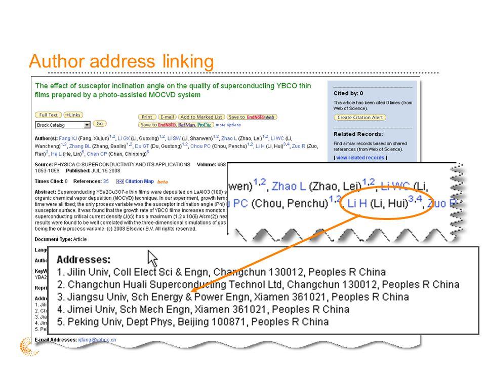 Author address linking