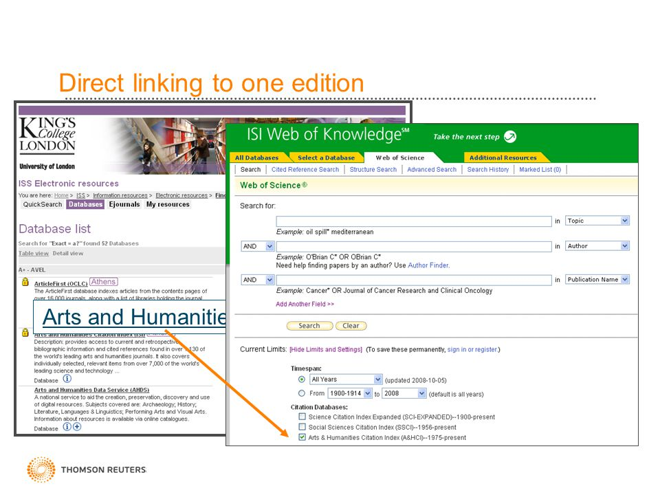 Direct linking to one edition Arts and Humanities Citation Index