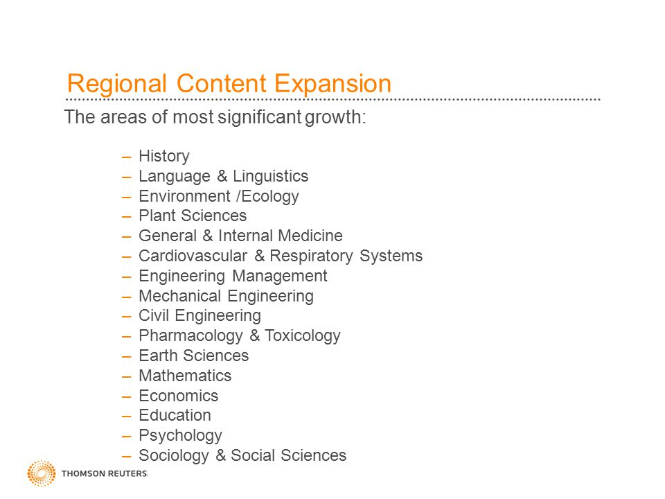 The areas of most significant growth: –History –Language & Linguistics –Environment /Ecology –Plant Sciences –General & Internal Medicine –Cardiovascular & Respiratory Systems –Engineering Management –Mechanical Engineering –Civil Engineering –Pharmacology & Toxicology –Earth Sciences –Mathematics –Economics –Education –Psychology –Sociology & Social Sciences