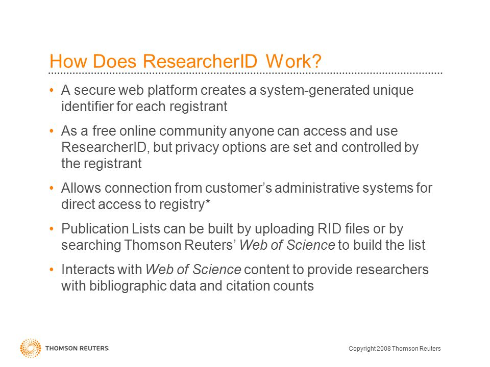 How Does ResearcherID Work.