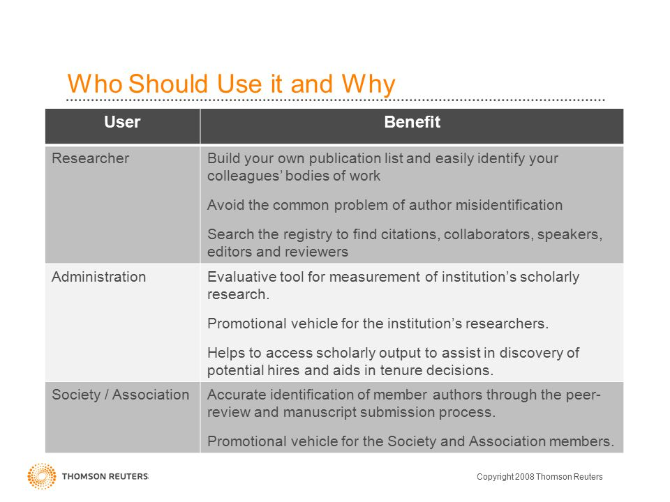Who Should Use it and Why UserBenefit ResearcherBuild your own publication list and easily identify your colleagues' bodies of work Avoid the common problem of author misidentification Search the registry to find citations, collaborators, speakers, editors and reviewers AdministrationEvaluative tool for measurement of institution's scholarly research.