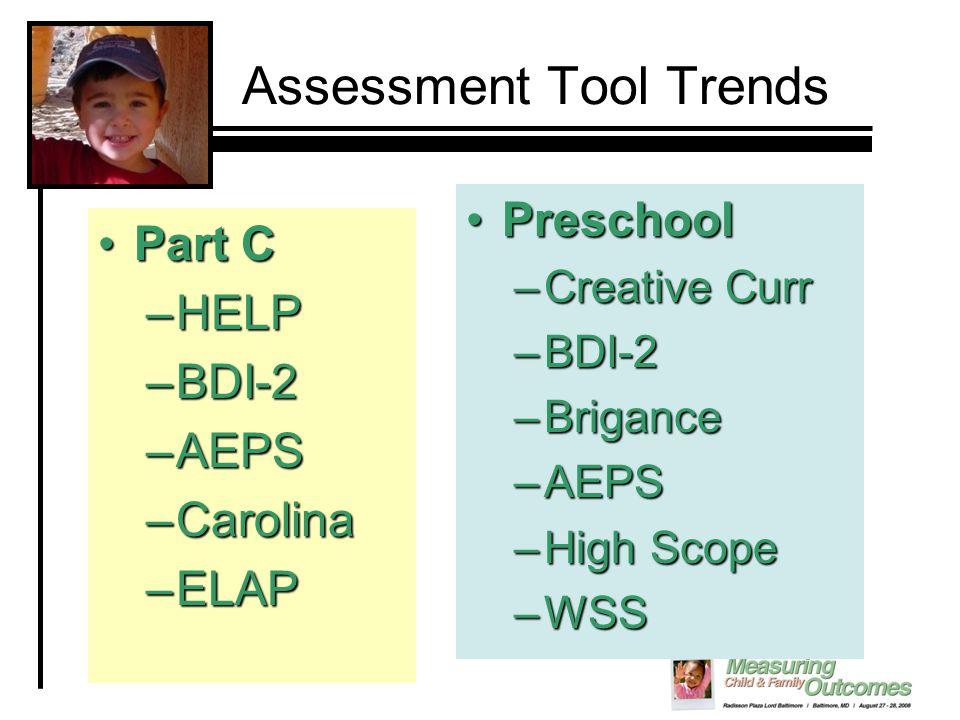 Assessment Tool Trends Part CPart C –HELP –BDI-2 –AEPS –Carolina –ELAP PreschoolPreschool –Creative Curr –BDI-2 –Brigance –AEPS –High Scope –WSS