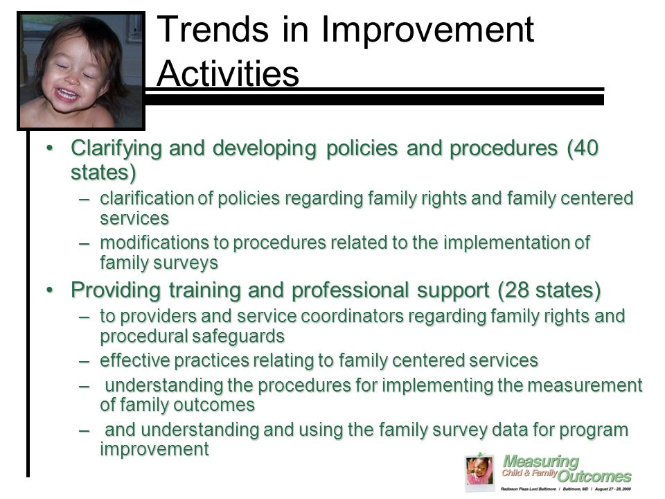 Trends in Improvement Activities Clarifying and developing policies and procedures (40 states)Clarifying and developing policies and procedures (40 st