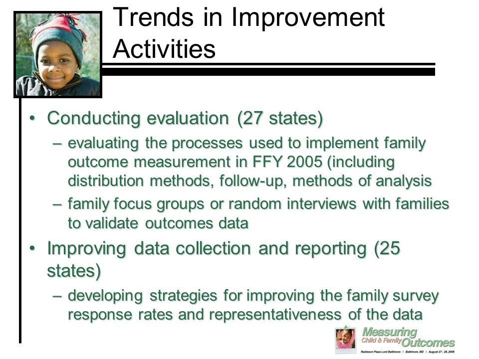 Trends in Improvement Activities Conducting evaluation (27 states)Conducting evaluation (27 states) –evaluating the processes used to implement family outcome measurement in FFY 2005 (including distribution methods, follow-up, methods of analysis –family focus groups or random interviews with families to validate outcomes data Improving data collection and reporting (25 states)Improving data collection and reporting (25 states) –developing strategies for improving the family survey response rates and representativeness of the data