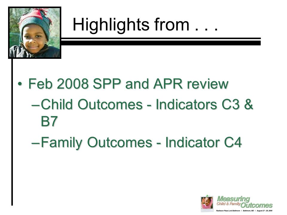 Child Outcomes Family Outcomes