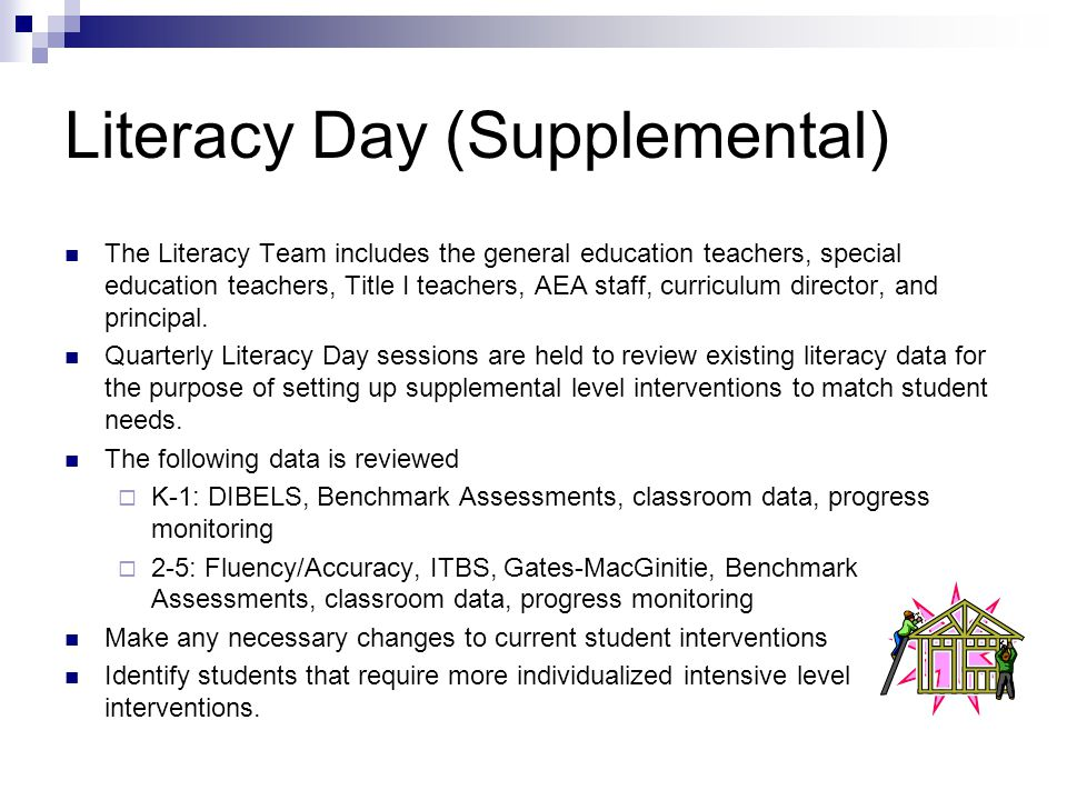 Literacy Day (Supplemental) The Literacy Team includes the general education teachers, special education teachers, Title I teachers, AEA staff, curriculum director, and principal.