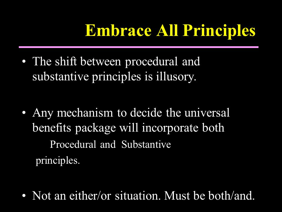 Embrace All Principles The shift between procedural and substantive principles is illusory.