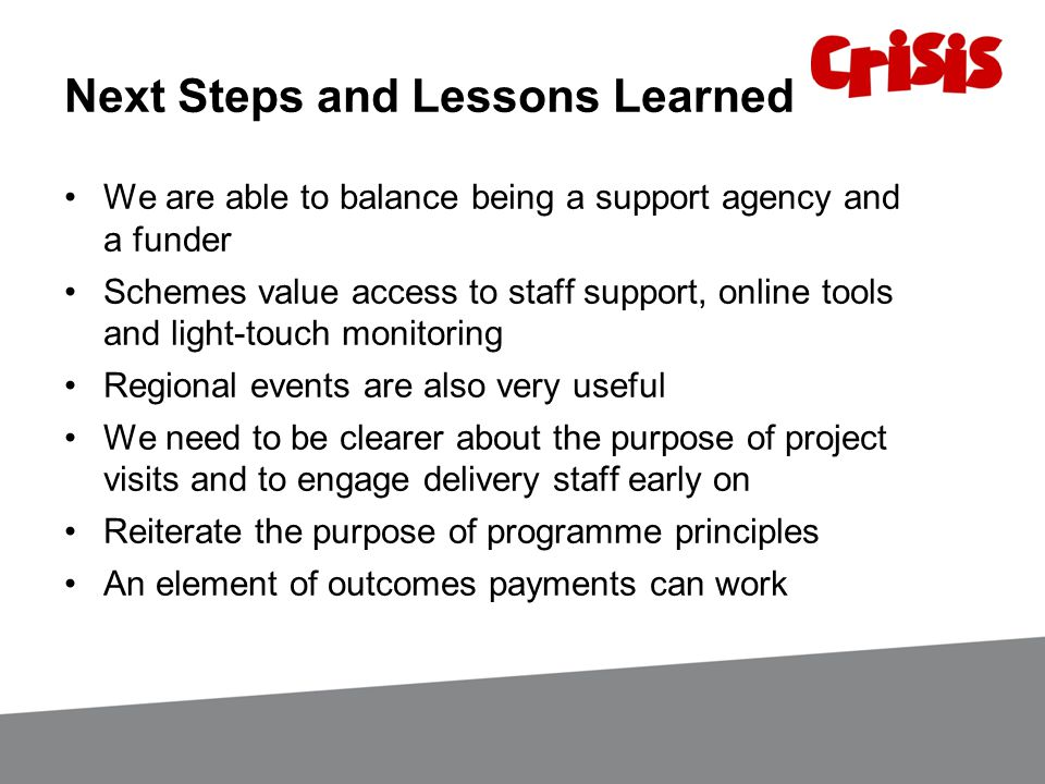 Next Steps and Lessons Learned We are able to balance being a support agency and a funder Schemes value access to staff support, online tools and ligh