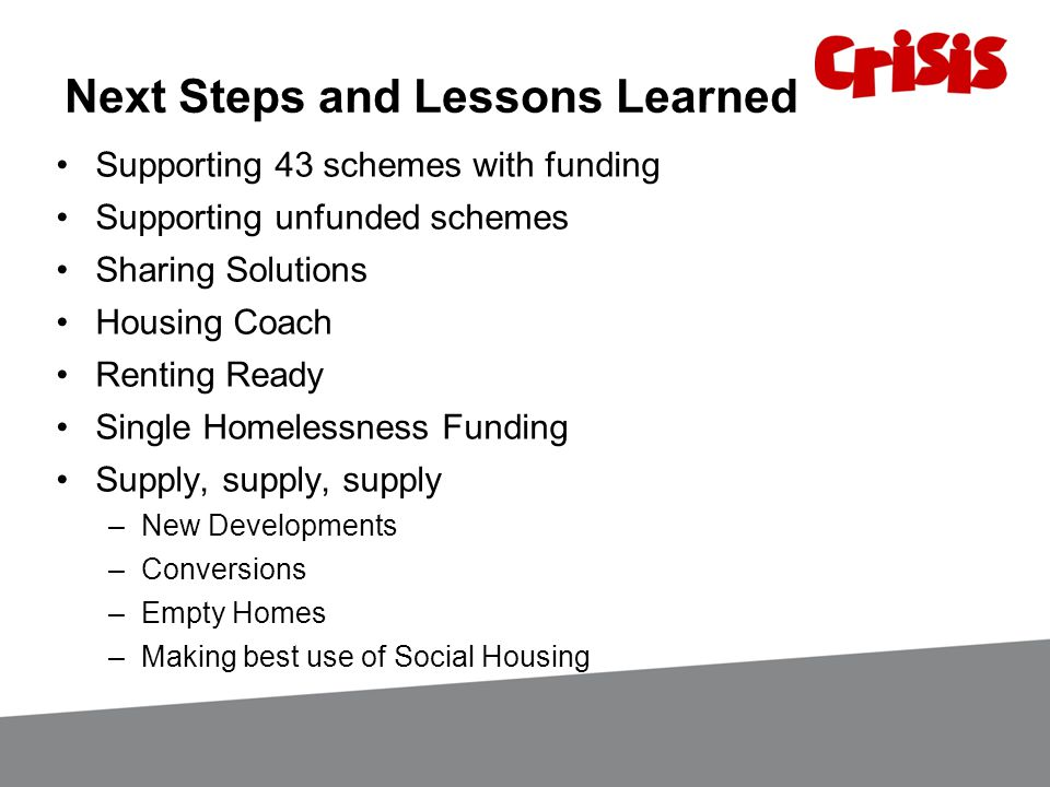 Next Steps and Lessons Learned Supporting 43 schemes with funding Supporting unfunded schemes Sharing Solutions Housing Coach Renting Ready Single Homelessness Funding Supply, supply, supply –New Developments –Conversions –Empty Homes –Making best use of Social Housing