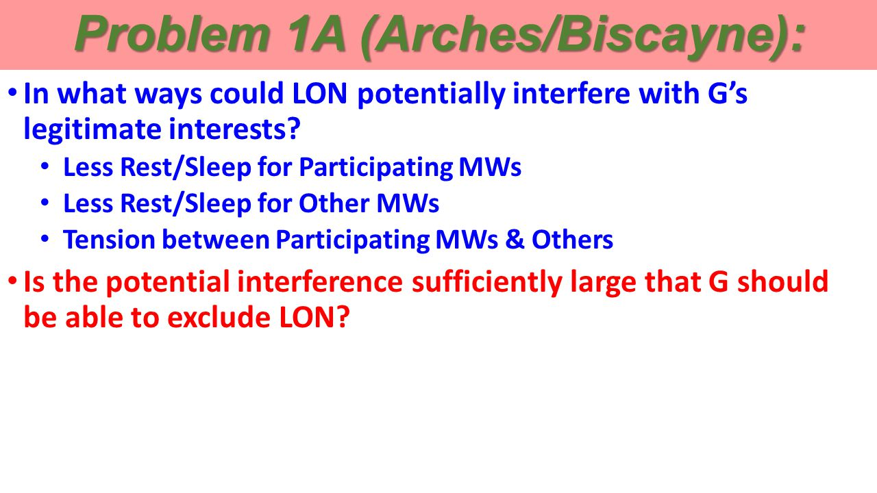 Problem 1A (Arches/Biscayne): In what ways could LON potentially interfere with G's legitimate interests.