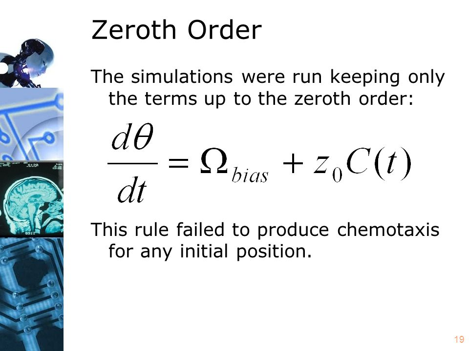 19 Zeroth Order The simulations were run keeping only the terms up to the zeroth order: This rule failed to produce chemotaxis for any initial position.