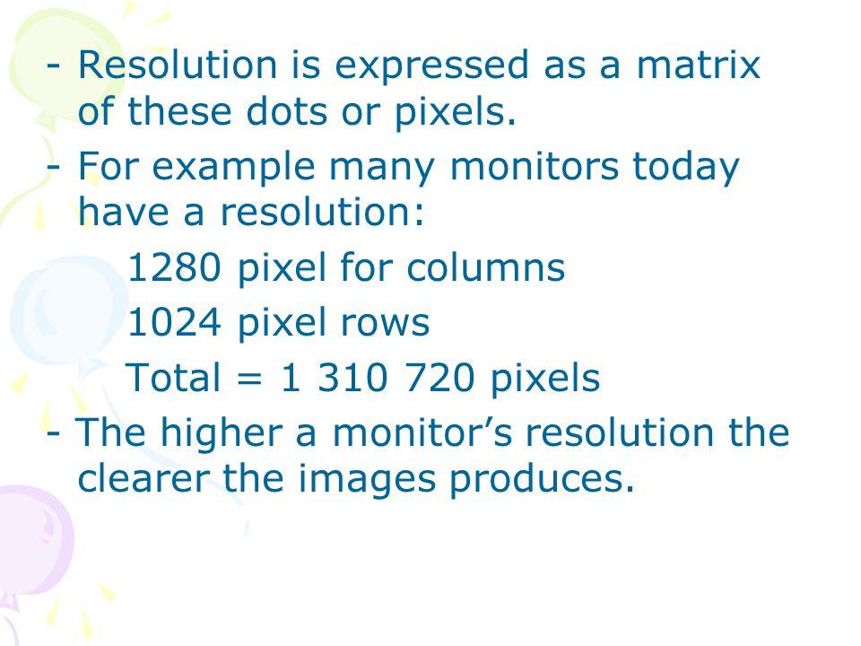 ii.Dot Pitch -The distance between each pixel.