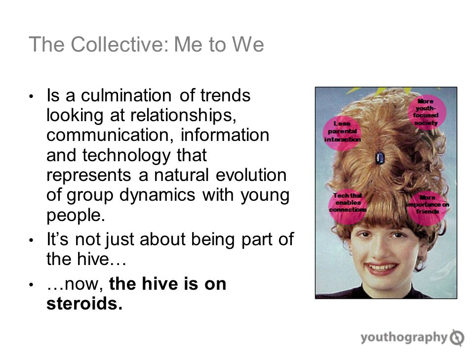 The Collective: Me to We Is a culmination of trends looking at relationships, communication, information and technology that represents a natural evolution of group dynamics with young people.