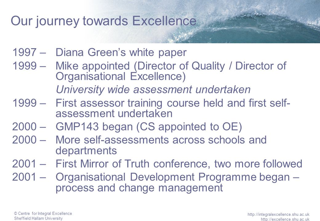 © Centre for Integral Excellence Sheffield Hallam University http://integralexcellence.shu.ac.uk http://excellence.shu.ac.uk Our journey (cont.) 2002 – Continued self-assessments and started in new areas, continued internal training and development activities 2002 – Organisational Development Programme delivering range of improvement projects, including high level process definitions 2002 – Methodology developed to include Matrix approach.
