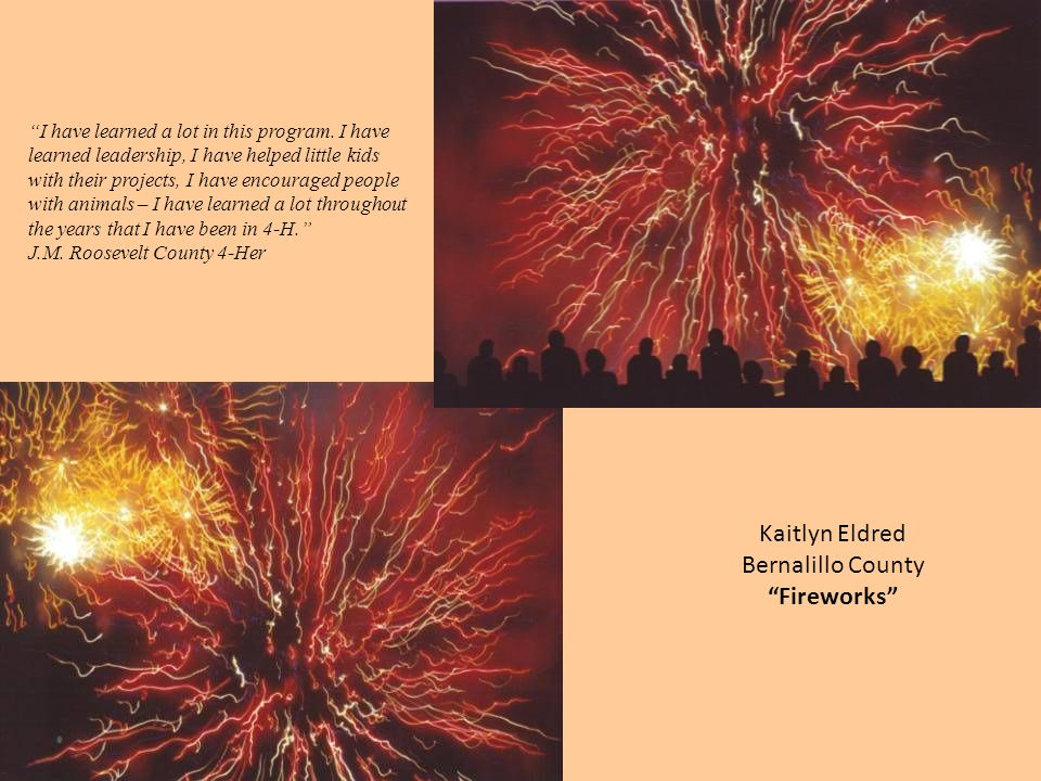 "Kaitlyn Eldred Bernalillo County ""Fireworks"" ""I have learned a lot in this program. I have learned leadership, I have helped little kids with their pr"