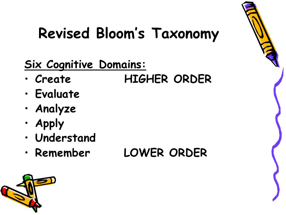 Original and Revised Bloom's Taxonomies 1.Refer to specific cognitive domains 2.