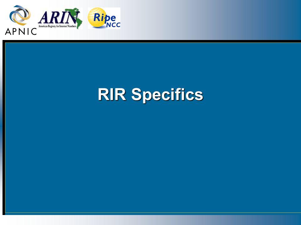 RIR Specifics