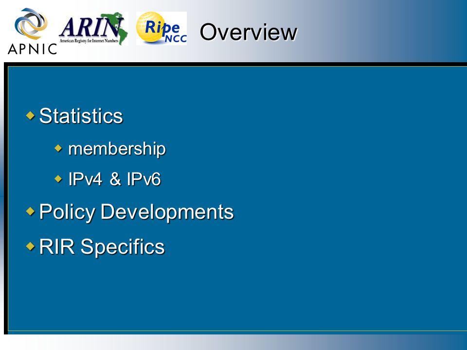 Overview  Statistics  membership  IPv4 & IPv6  Policy Developments  RIR Specifics