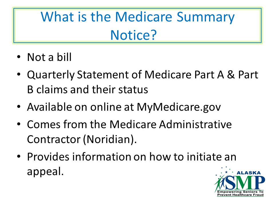 What is the Medicare Summary Notice.