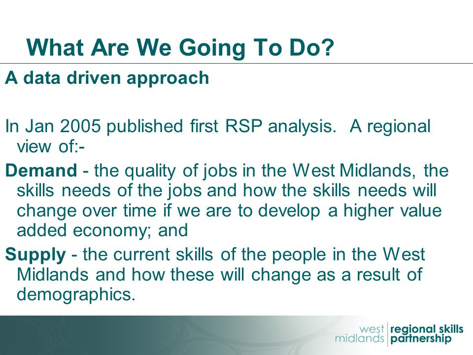 What Are We Going To Do. A data driven approach In Jan 2005 published first RSP analysis.