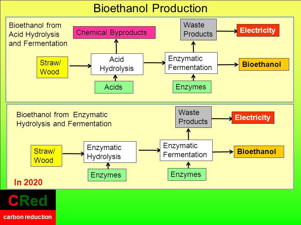 CRed carbon reduction CRed carbon reduction Bioethanol from Enzymatic Hydrolysis and Fermentation Bioethanol from Acid Hydrolysis and Fermentation Electricity Waste Products Straw/ Wood BioethanolEnzymatic Hydrolysis Enzymes Enzymatic Fermentation Enzymes Bioethanol Production Electricity Waste Products BioethanolEnzymatic Fermentation Enzymes Straw/ Wood Chemical Byproducts Acids Acid Hydrolysis In 2020