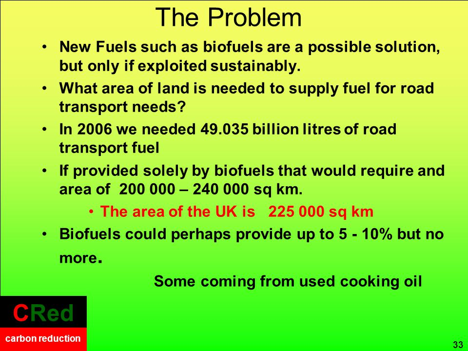 CRed carbon reduction CRed carbon reduction CRed carbon reduction The Problem 33 New Fuels such as biofuels are a possible solution, but only if exploited sustainably.