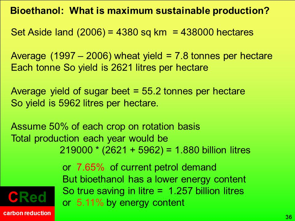 CRed carbon reduction CRed carbon reduction Bioethanol: What is maximum sustainable production.