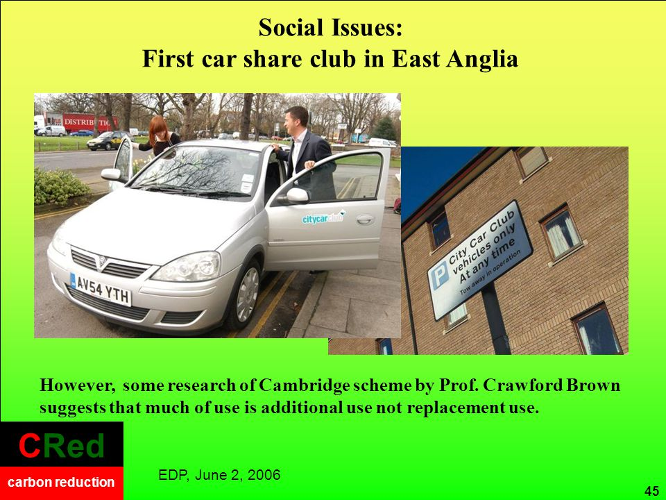 CRed carbon reduction CRed carbon reduction Social Issues: First car share club in East Anglia EDP, June 2, 2006 However, some research of Cambridge s