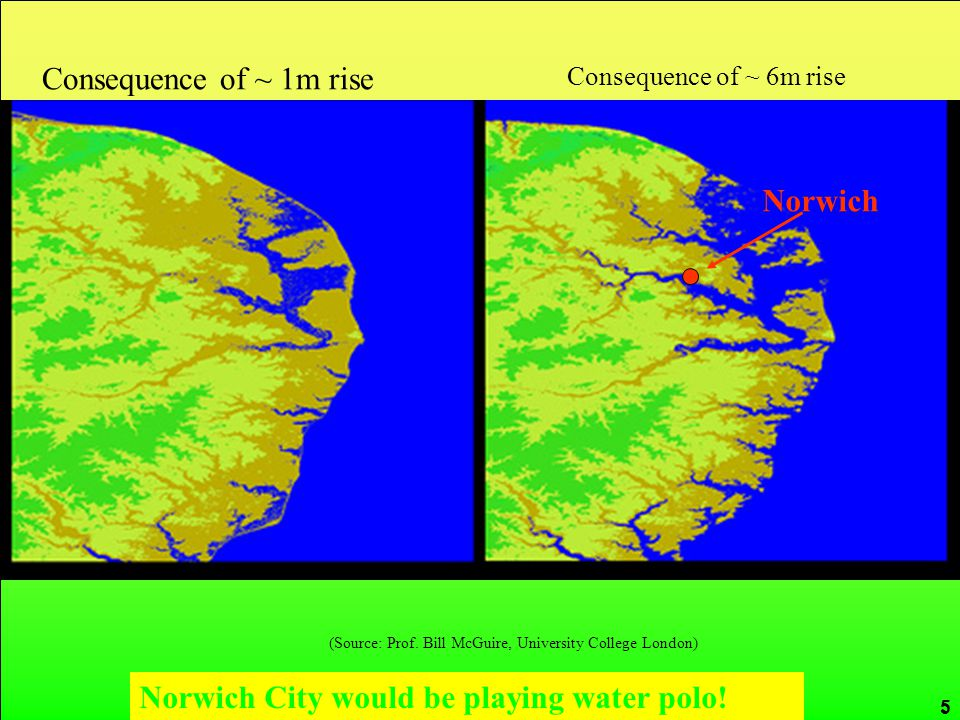 CRed carbon reduction 5 (Source: Prof. Bill McGuire, University College London) Norwich Consequence of ~ 1m rise Consequence of ~ 6m rise Norwich City