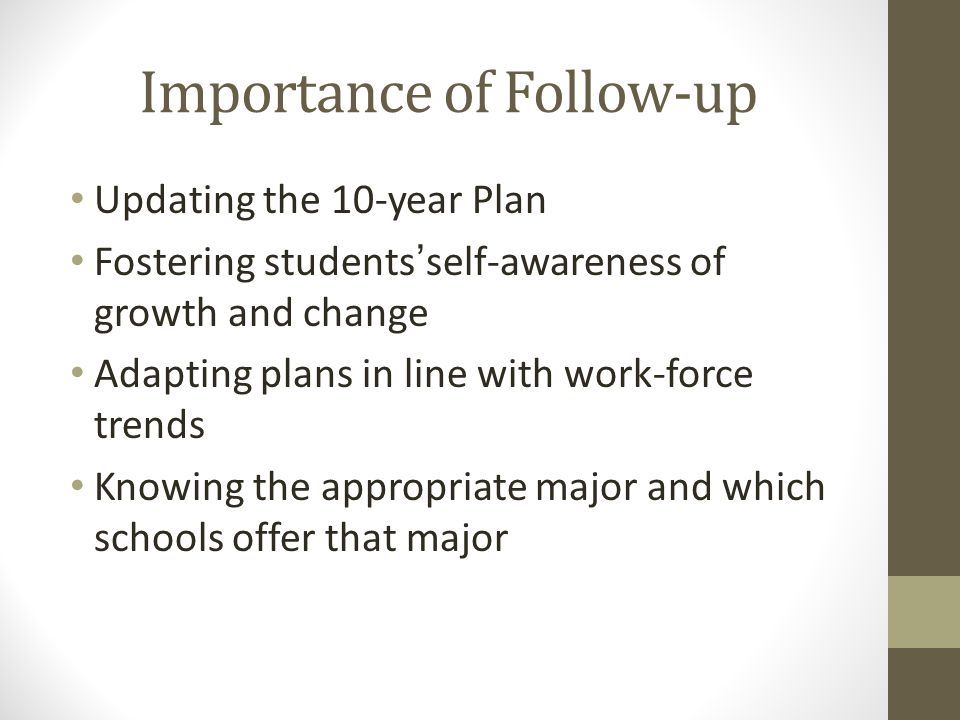 Importance of Follow-up Updating the 10-year Plan Fostering students'self-awareness of growth and change Adapting plans in line with work-force trends Knowing the appropriate major and which schools offer that major