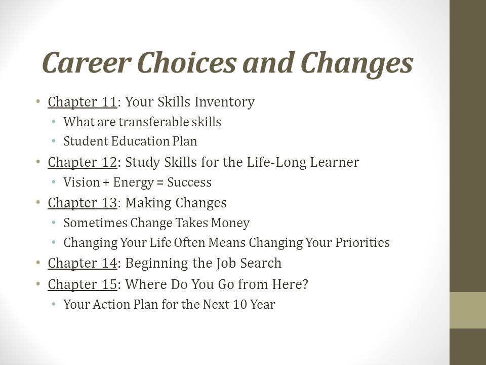 Career Choices and Changes Chapter 11: Your Skills Inventory What are transferable skills Student Education Plan Chapter 12: Study Skills for the Life-Long Learner Vision + Energy = Success Chapter 13: Making Changes Sometimes Change Takes Money Changing Your Life Often Means Changing Your Priorities Chapter 14: Beginning the Job Search Chapter 15: Where Do You Go from Here.