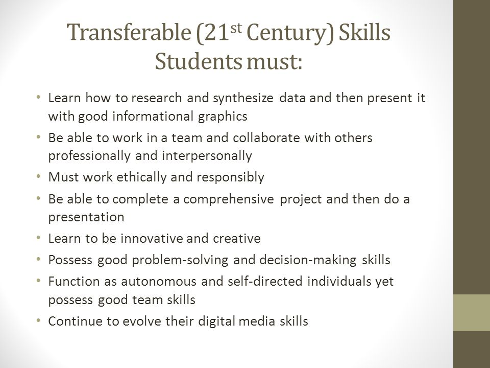 Transferable (21 st Century) Skills Students must: Learn how to research and synthesize data and then present it with good informational graphics Be able to work in a team and collaborate with others professionally and interpersonally Must work ethically and responsibly Be able to complete a comprehensive project and then do a presentation Learn to be innovative and creative Possess good problem-solving and decision-making skills Function as autonomous and self-directed individuals yet possess good team skills Continue to evolve their digital media skills