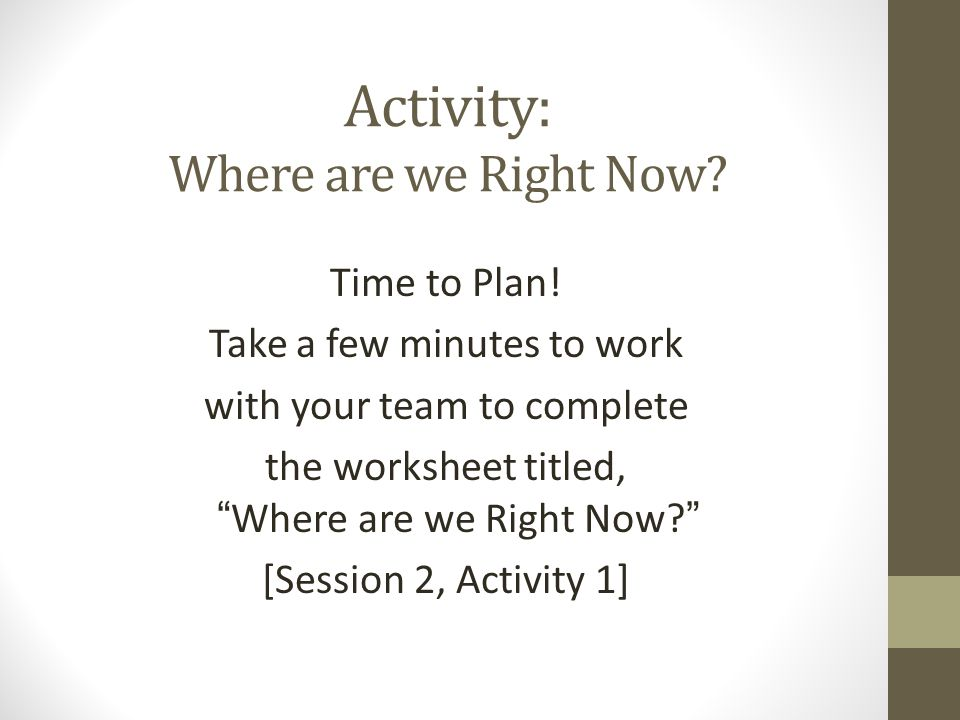 Activity: Where are we Right Now. Time to Plan.