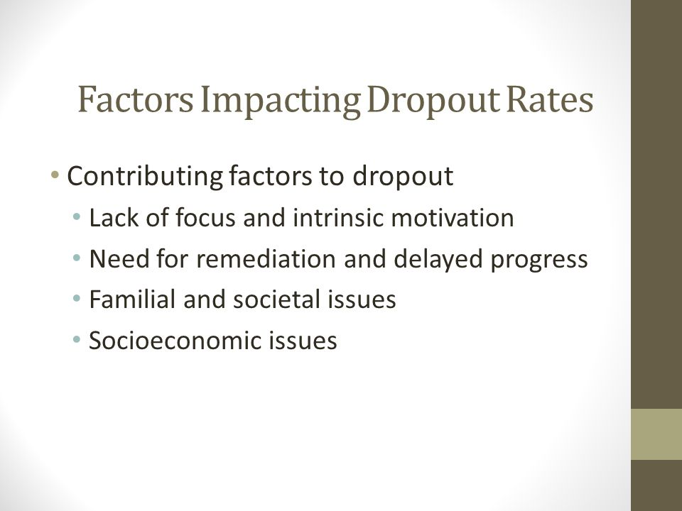 Factors Impacting Dropout Rates Contributing factors to dropout Lack of focus and intrinsic motivation Need for remediation and delayed progress Familial and societal issues Socioeconomic issues