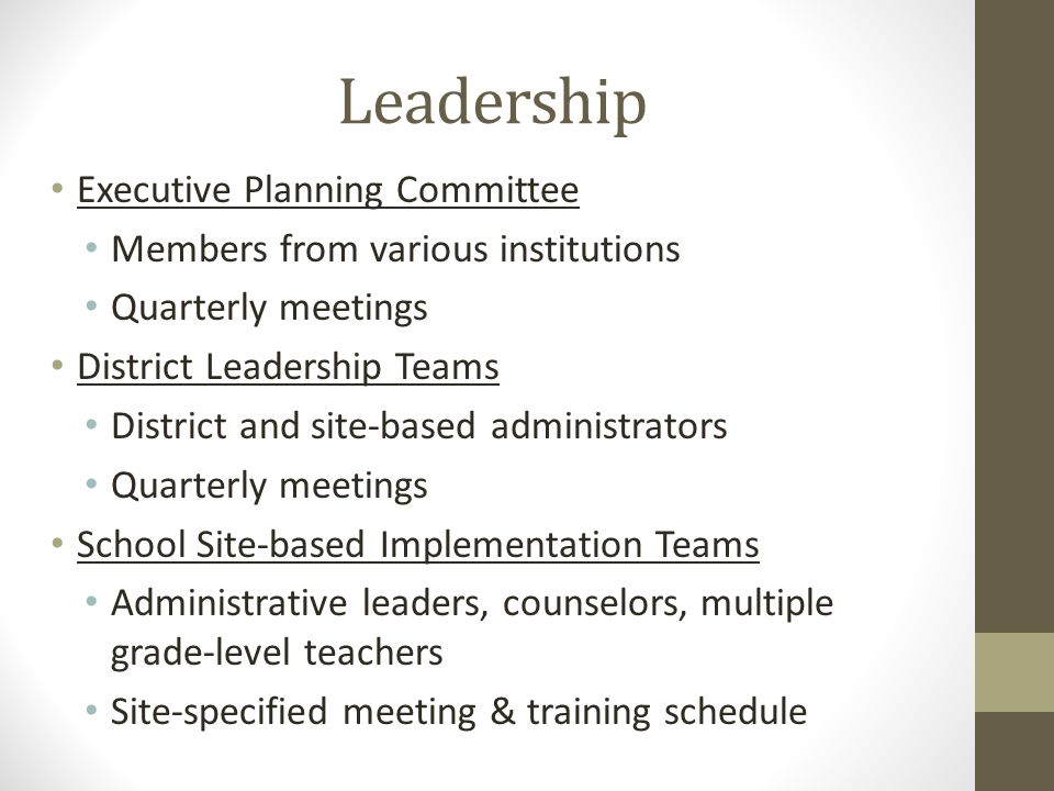 Leadership Executive Planning Committee Members from various institutions Quarterly meetings District Leadership Teams District and site-based administrators Quarterly meetings School Site-based Implementation Teams Administrative leaders, counselors, multiple grade-level teachers Site-specified meeting & training schedule