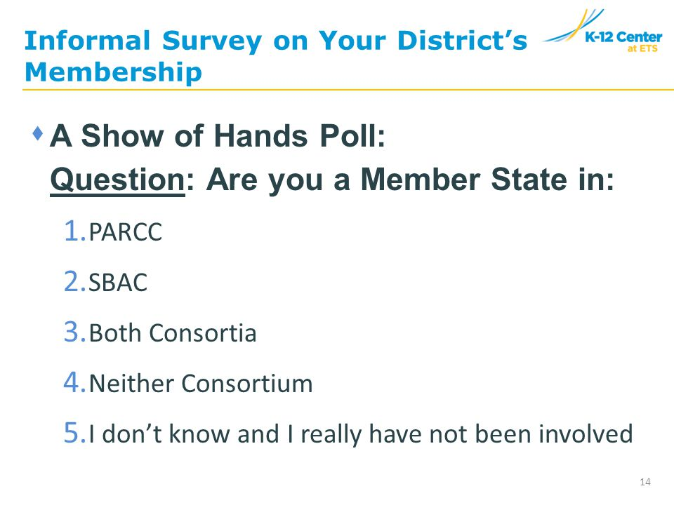 Informal Survey on Your District's Membership 14  A Show of Hands Poll: Question: Are you a Member State in: 1.