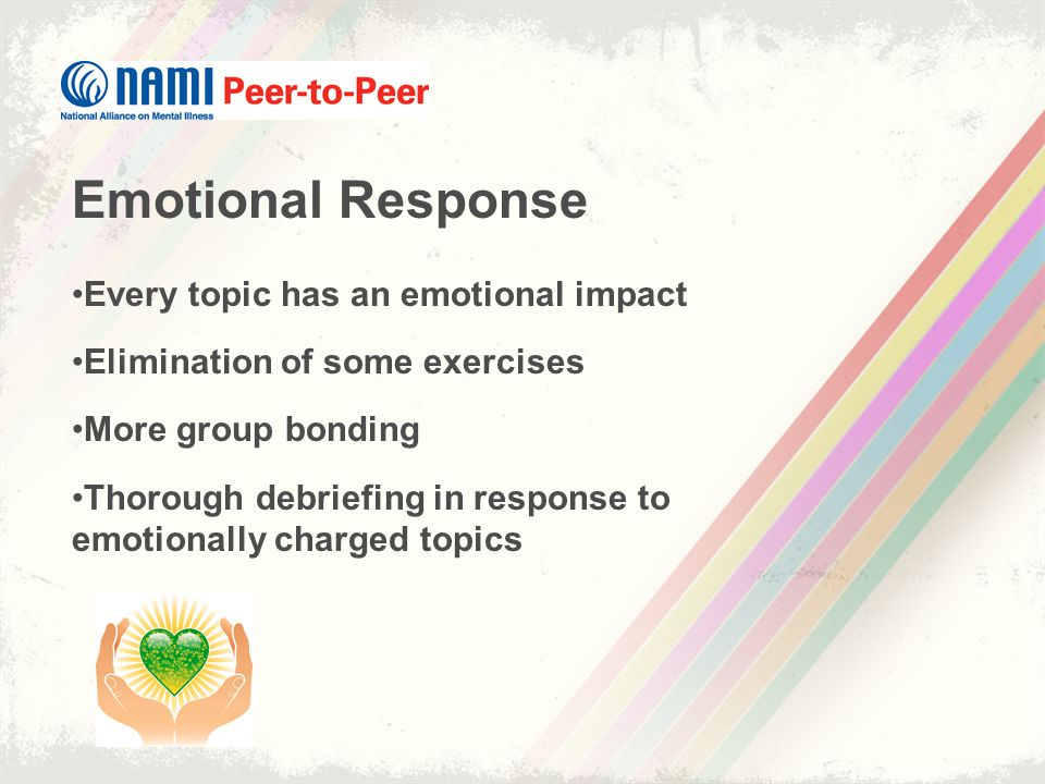 Emotional Response Every topic has an emotional impact Elimination of some exercises More group bonding Thorough debriefing in response to emotionally charged topics