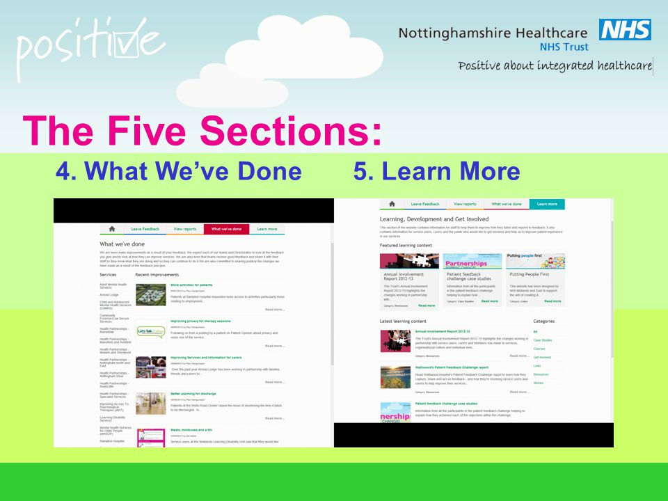 The Five Sections: 4. What We've Done 5. Learn More