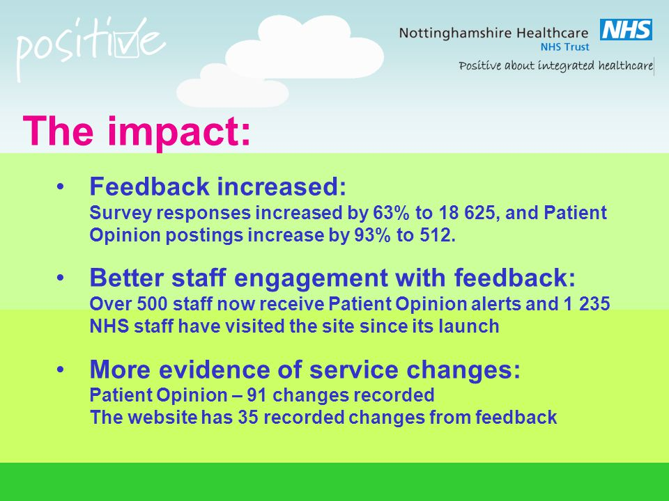 The impact: Feedback increased: Survey responses increased by 63% to 18 625, and Patient Opinion postings increase by 93% to 512. Better staff engagem