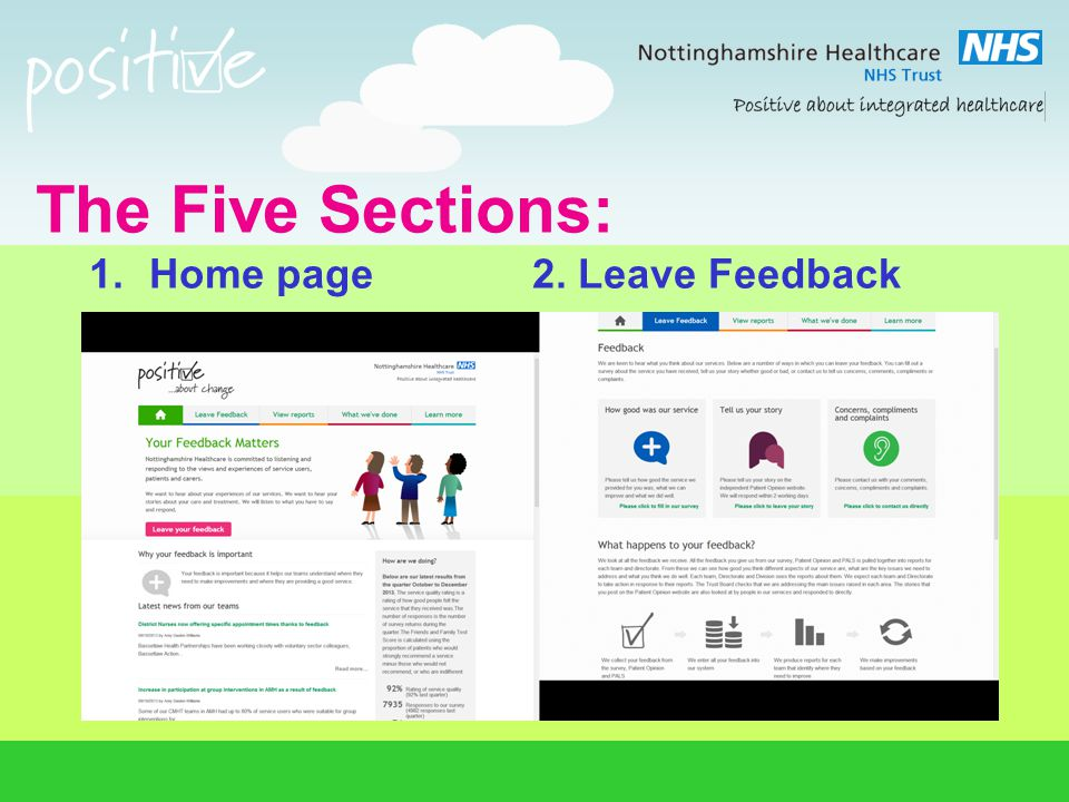 The Five Sections: 1.Home page 2. Leave Feedback