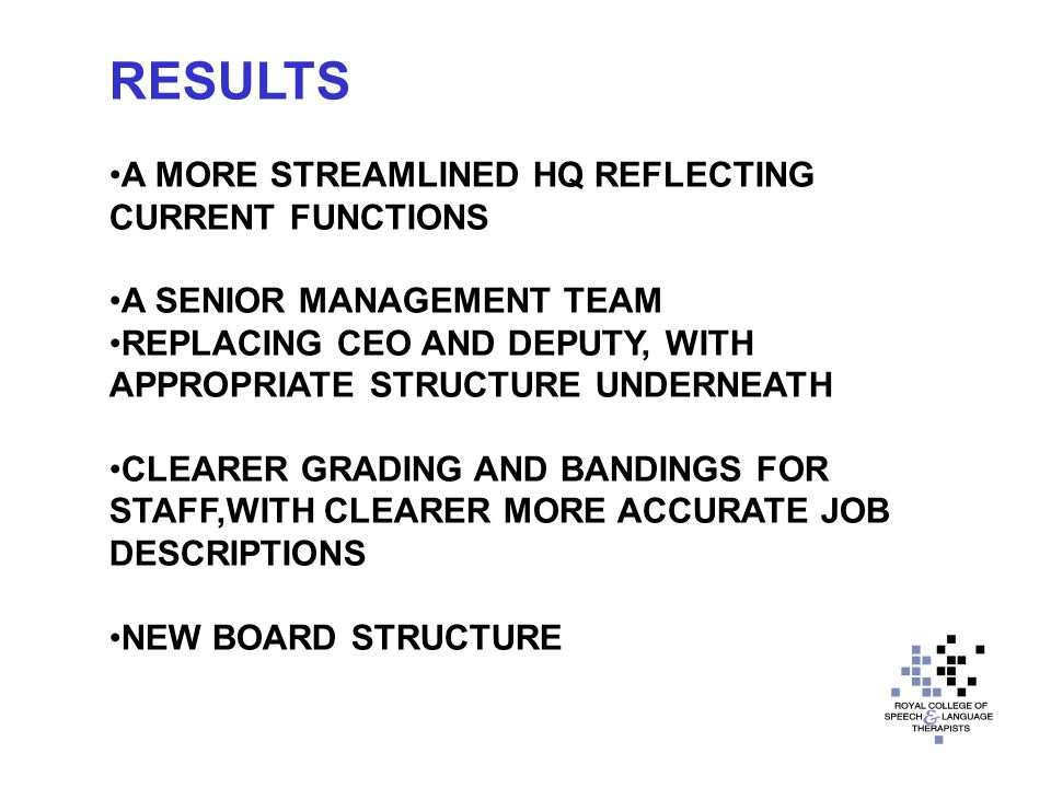RESULTS A MORE STREAMLINED HQ REFLECTING CURRENT FUNCTIONS A SENIOR MANAGEMENT TEAM REPLACING CEO AND DEPUTY, WITH APPROPRIATE STRUCTURE UNDERNEATH CLEARER GRADING AND BANDINGS FOR STAFF,WITH CLEARER MORE ACCURATE JOB DESCRIPTIONS NEW BOARD STRUCTURE