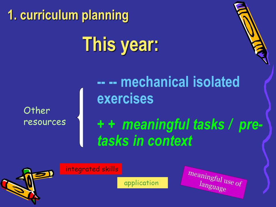-- -- mechanical isolated exercises + + meaningful tasks / pre- tasks in context This year: meaningful use of language application integrated skills 1