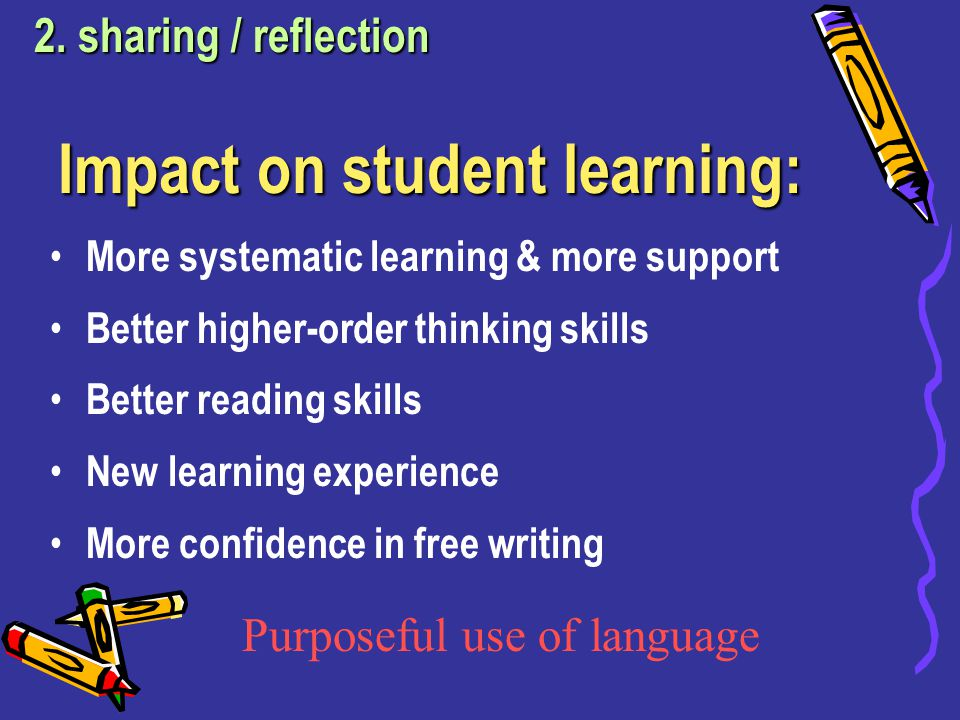 Impact on student learning: More systematic learning & more support Better higher-order thinking skills Better reading skills New learning experience More confidence in free writing 2.