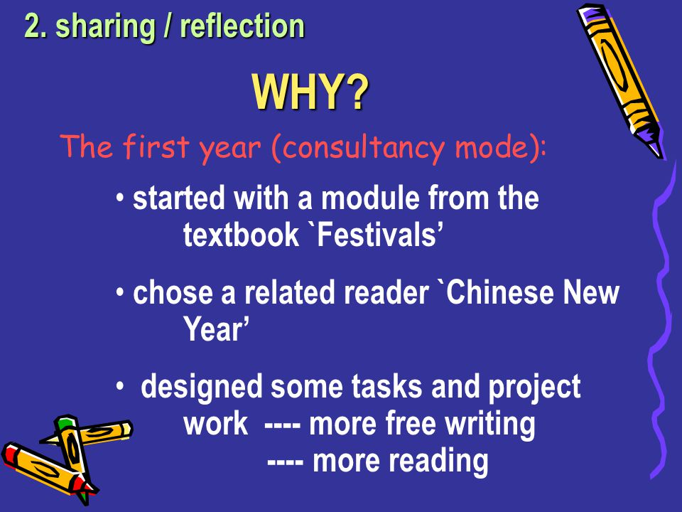 Way forward: Development of the curriculum across years …… 2. sharing / reflection