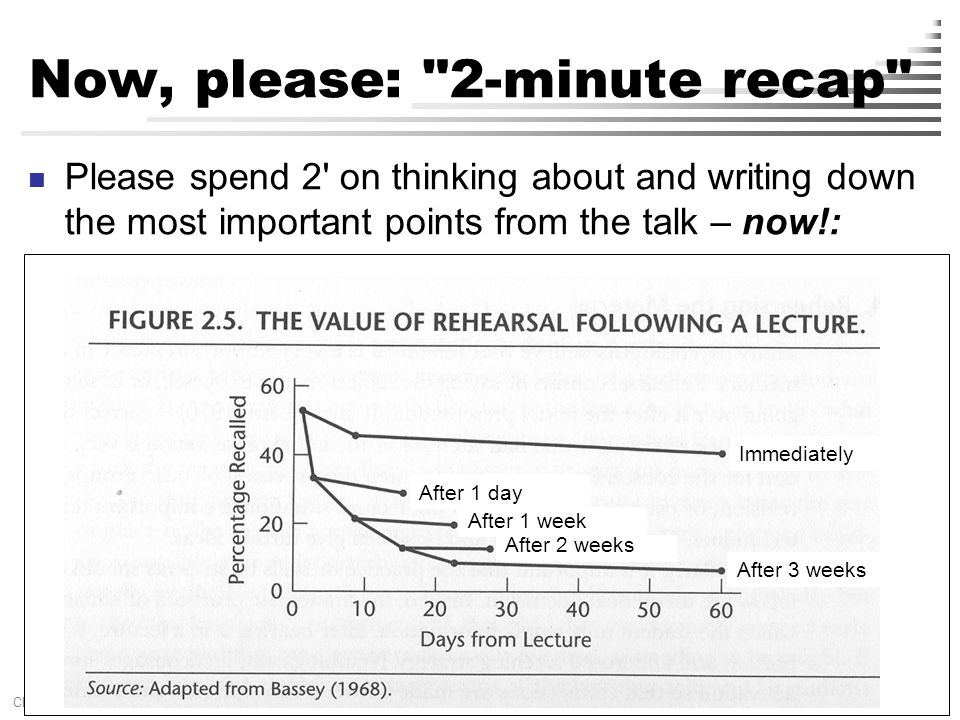 [ 29 ] Claus Brabrand Reykjavik UniversitySeptember 22, 2009 Now, please: 2-minute recap Please spend 2 on thinking about and writing down the most important points from the talk – now!: After 1 day After 1 week After 3 weeks After 2 weeks Immediately