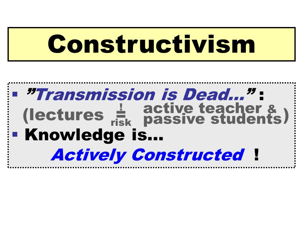 [ 38 ] Claus Brabrand Reykjavik UniversitySeptember 22, 2009 Constructivism  Transmission is Dead… : (lectures = )  Knowledge is… Actively Constructed .