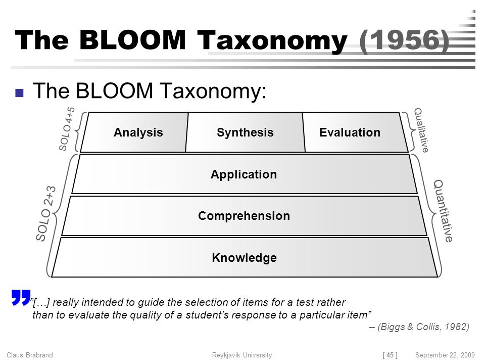 [ 45 ] Claus Brabrand Reykjavik UniversitySeptember 22, 2009 The BLOOM Taxonomy (1956) The BLOOM Taxonomy: Knowledge Comprehension Application AnalysisEvaluationSynthesis Qualitative Quantitative SOLO 4+5 SOLO 2+3 […] really intended to guide the selection of items for a test rather than to evaluate the quality of a student's response to a particular item -- (Biggs & Collis, 1982)