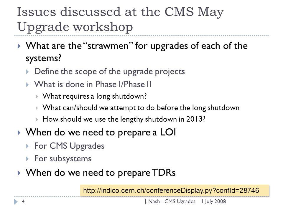 1 July 2008J.Nash - CMS Ugrades5 CMS from LHC to SLHC 10 33 10 35 10 32 cm -2 s -1 10 34 I.